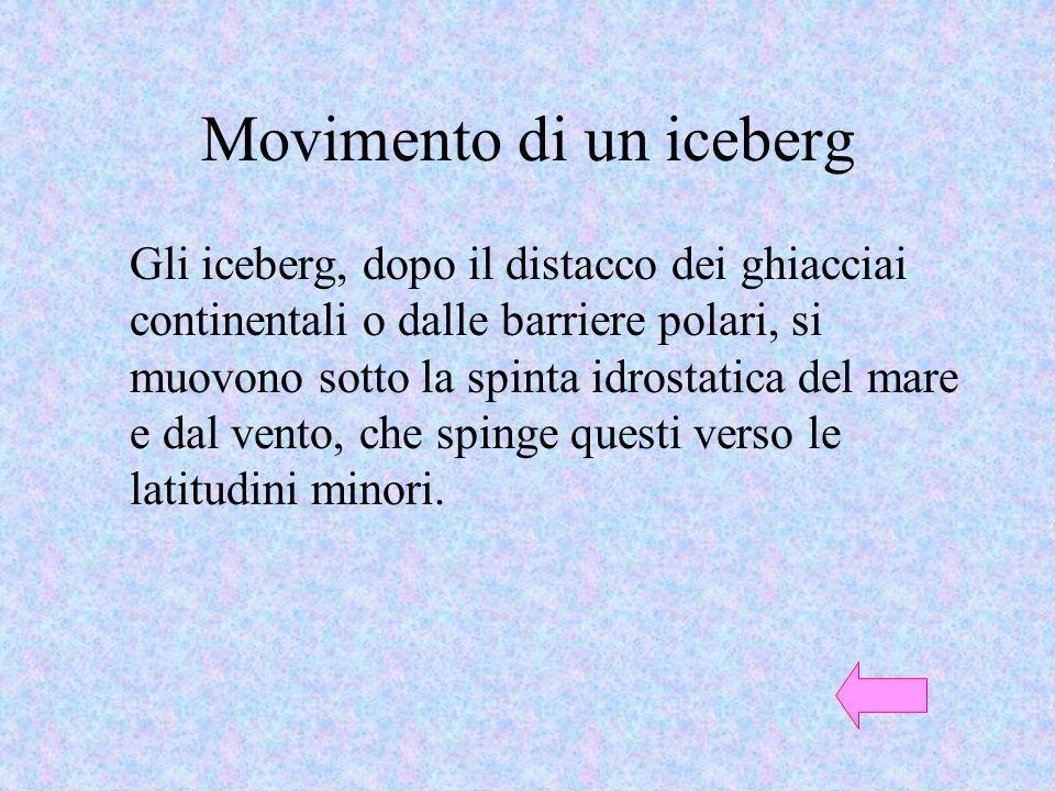 Movimento di un iceberg Gli iceberg, dopo il distacco dei ghiacciai continentali o dalle barriere polari, si muovono sotto la spinta idrostatica del m