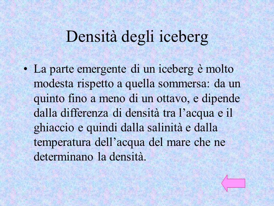 Densità degli iceberg La parte emergente di un iceberg è molto modesta rispetto a quella sommersa: da un quinto fino a meno di un ottavo, e dipende da