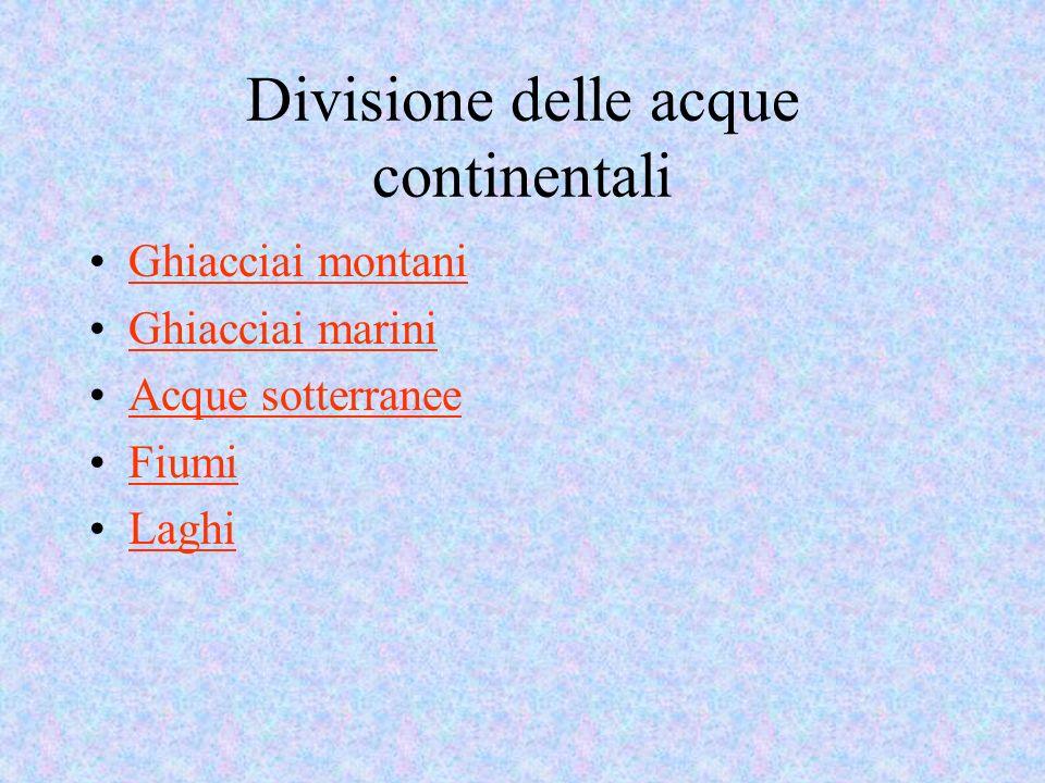 Divisione delle acque continentali Ghiacciai montani Ghiacciai marini Acque sotterranee Fiumi Laghi