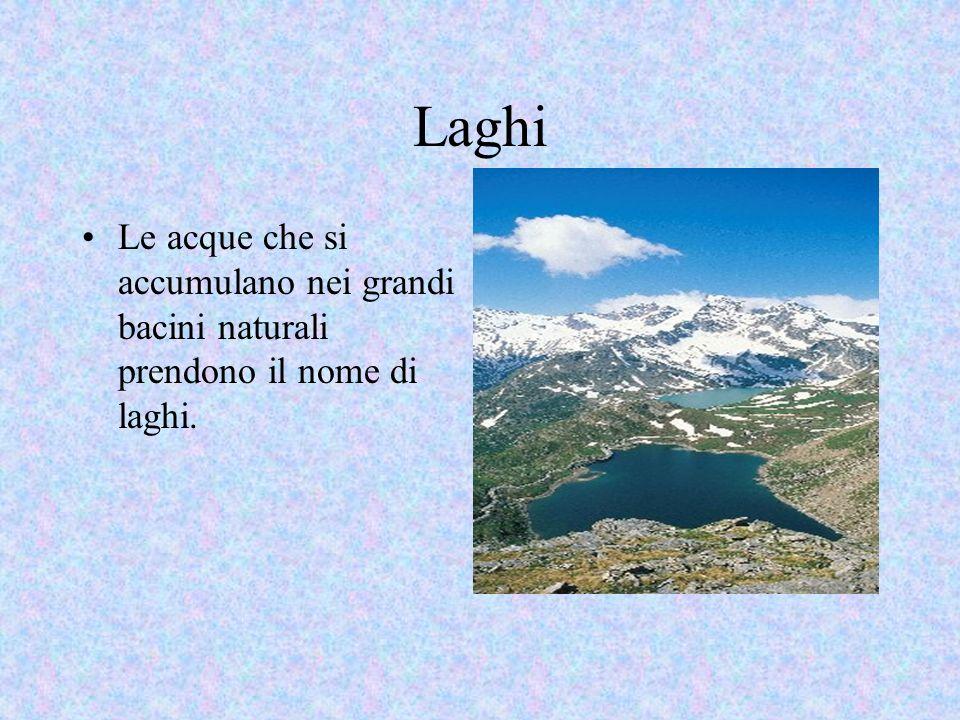 Laghi Le acque che si accumulano nei grandi bacini naturali prendono il nome di laghi.