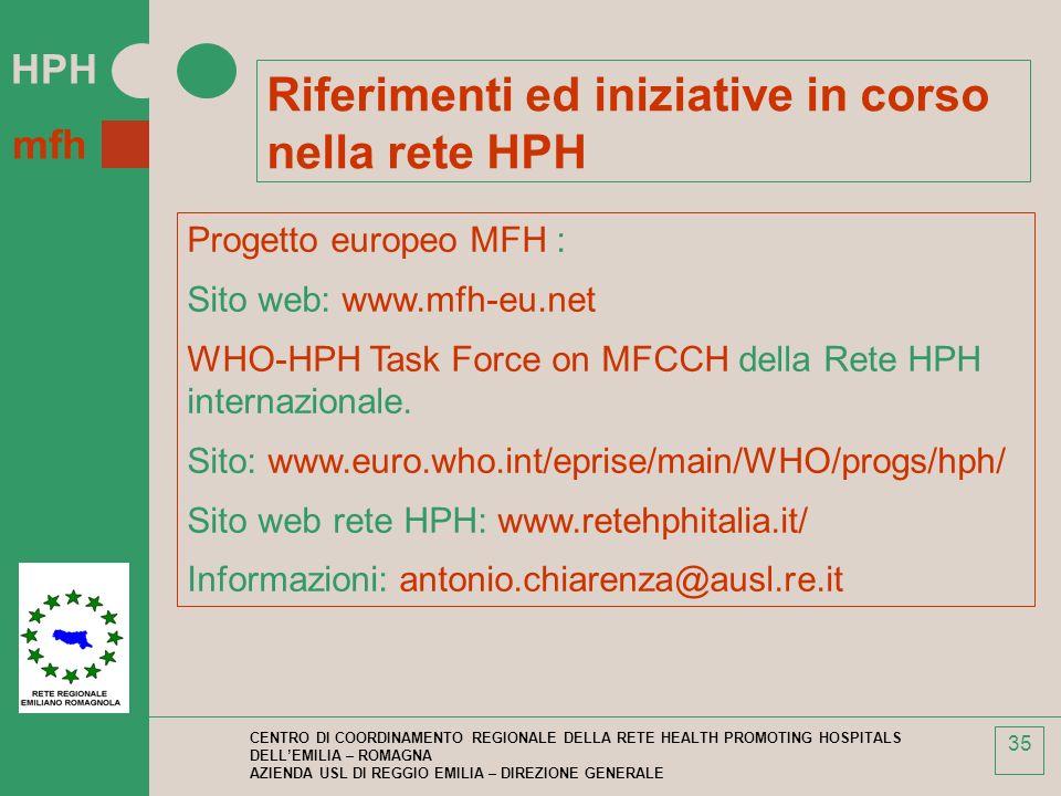 HPH mfh CENTRO DI COORDINAMENTO REGIONALE DELLA RETE HEALTH PROMOTING HOSPITALS DELLEMILIA – ROMAGNA AZIENDA USL DI REGGIO EMILIA – DIREZIONE GENERALE 35 Riferimenti ed iniziative in corso nella rete HPH Progetto europeo MFH : Sito web: www.mfh-eu.net WHO-HPH Task Force on MFCCH della Rete HPH internazionale.