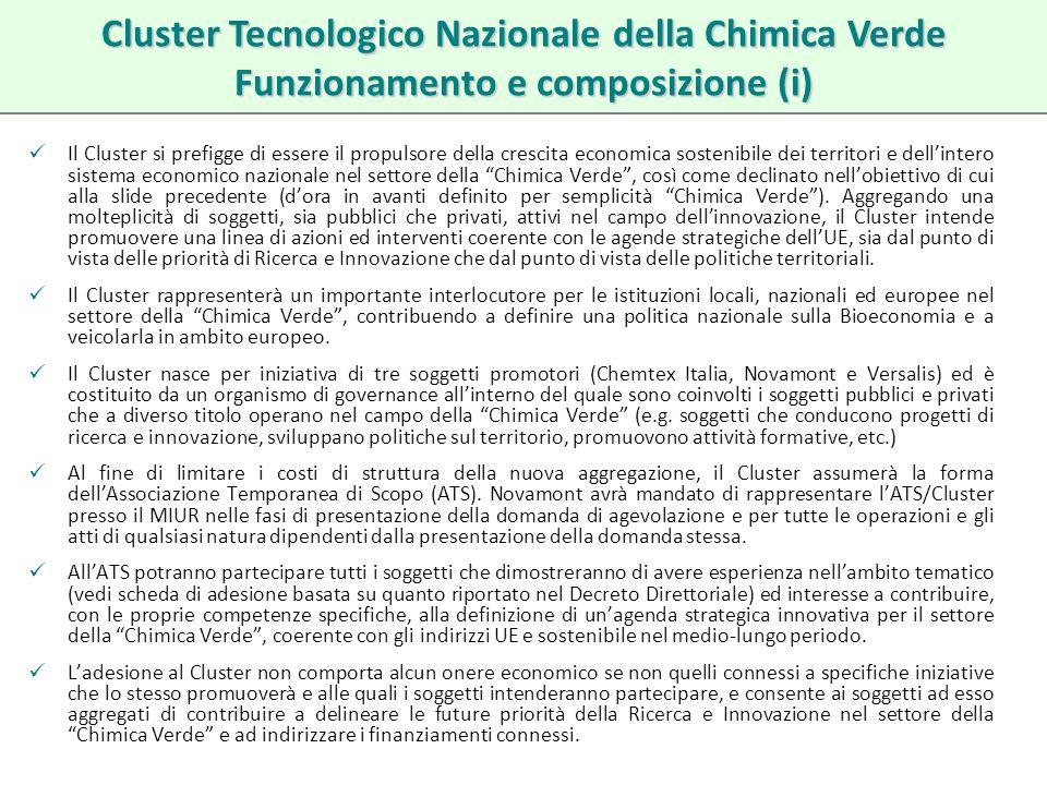 Il Cluster si prefigge di essere il propulsore della crescita economica sostenibile dei territori e dellintero sistema economico nazionale nel settore