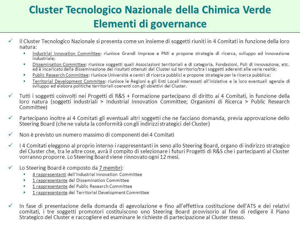 Il Cluster Tecnologico Nazionale si presenta come un insieme di soggetti riuniti in 4 Comitati in funzione della loro natura: Industrial Innovation Co