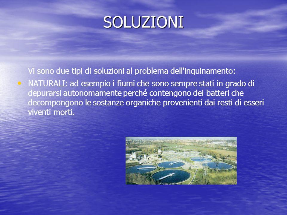 SOLUZIONI Vi sono due tipi di soluzioni al problema dell'inquinamento: NATURALI: ad esempio i fiumi che sono sempre stati in grado di depurarsi autono