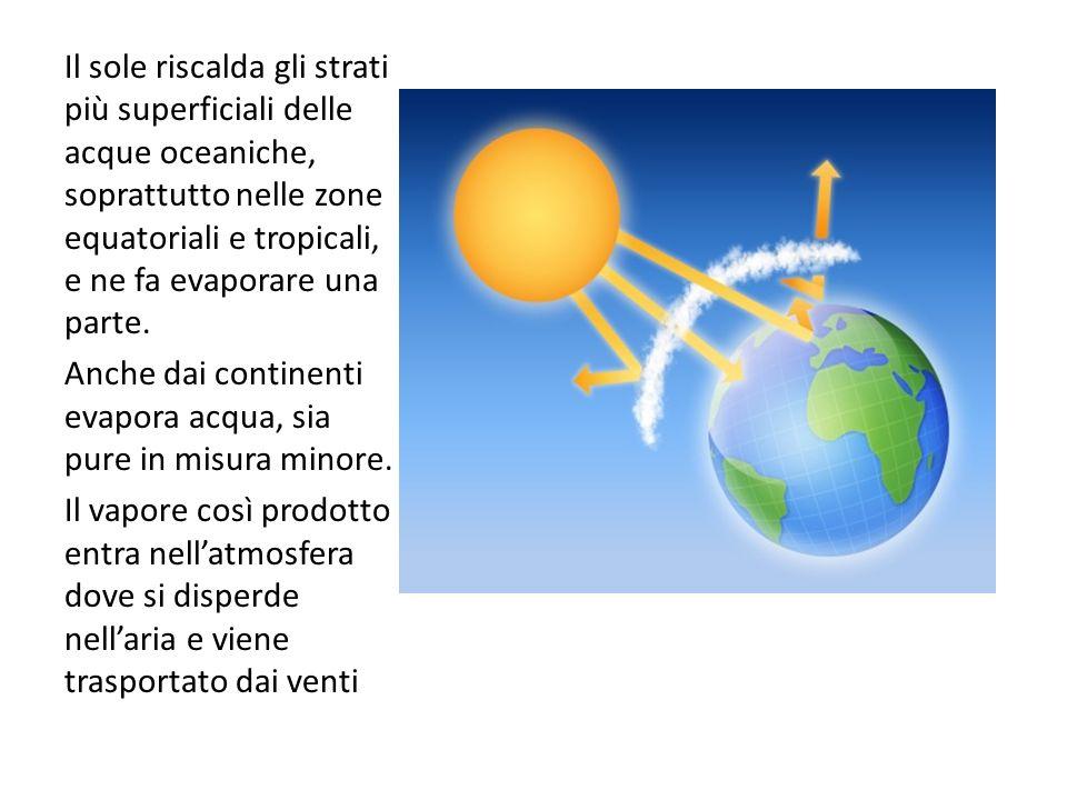 Il sole riscalda gli strati più superficiali delle acque oceaniche, soprattutto nelle zone equatoriali e tropicali, e ne fa evaporare una parte. Anche