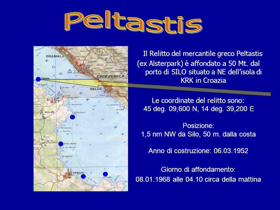 Il mercantile greco Peltastis (Ex Alsterpark) Denominato: IL GRECO Dettagli del relitto situato poco distante dalle rive dellisola di KRK - Croazia G.