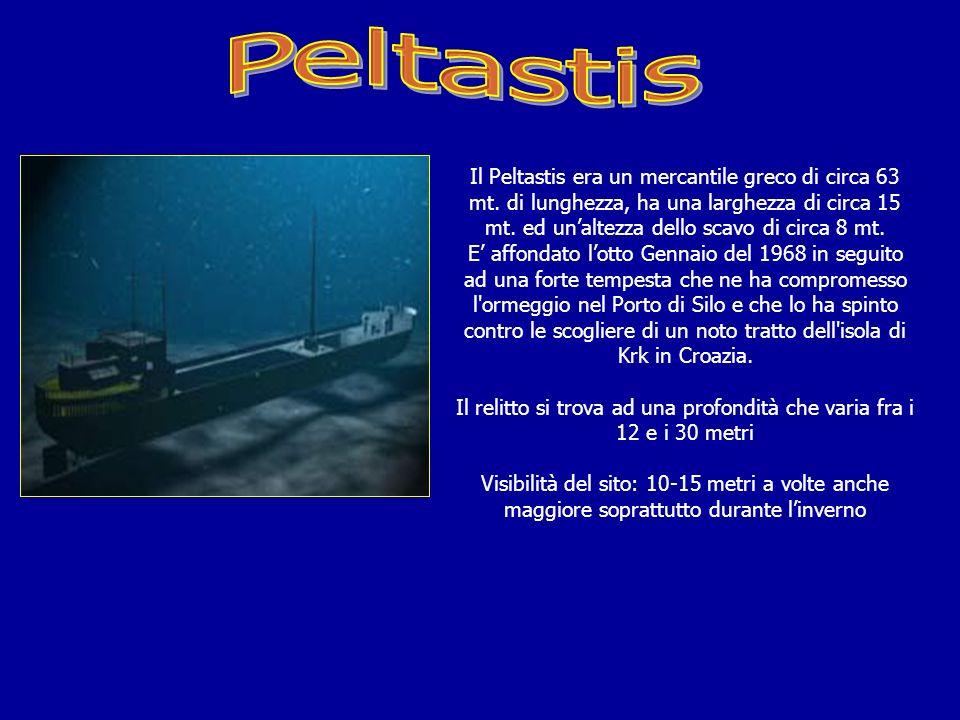 Il Relitto del mercantile greco Peltastis (ex Alsterpark) è affondato a 50 Mt. dal porto di SILO situato a NE dellisola di KRK in Croazia Le coordinat