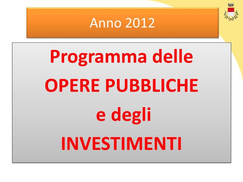 Anno 2012 Programma delle OPERE PUBBLICHE e degli INVESTIMENTI Programma delle OPERE PUBBLICHE e degli INVESTIMENTI