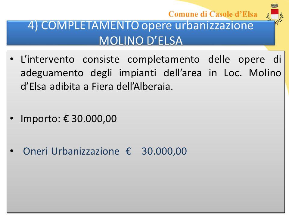 4) COMPLETAMENTO opere urbanizzazione MOLINO DELSA Lintervento consiste completamento delle opere di adeguamento degli impianti dellarea in Loc.