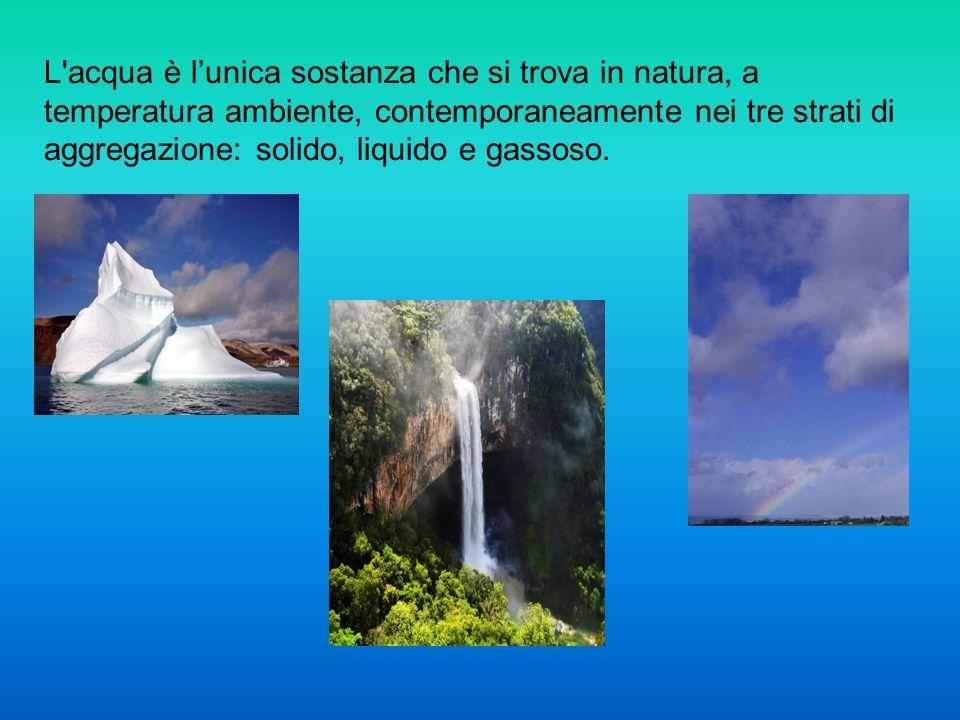 L'acqua è lunica sostanza che si trova in natura, a temperatura ambiente, contemporaneamente nei tre strati di aggregazione: solido, liquido e gassoso