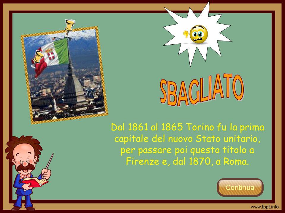 Dal 1861 al 1865 Torino fu la prima capitale del nuovo Stato unitario, per passare poi questo titolo a Firenze e, dal 1870, a Roma.