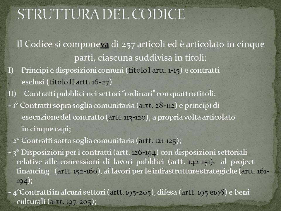 va Il Codice si componeva di 257 articoli ed è articolato in cinque parti, ciascuna suddivisa in titoli: I) Principi e disposizioni comuni (titolo I artt.