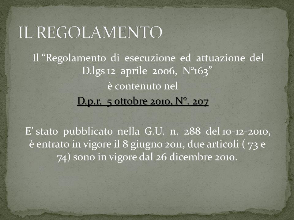 Il Regolamento di esecuzione ed attuazione del D.lgs 12 aprile 2006, N°163 è contenuto nel D.p.r.