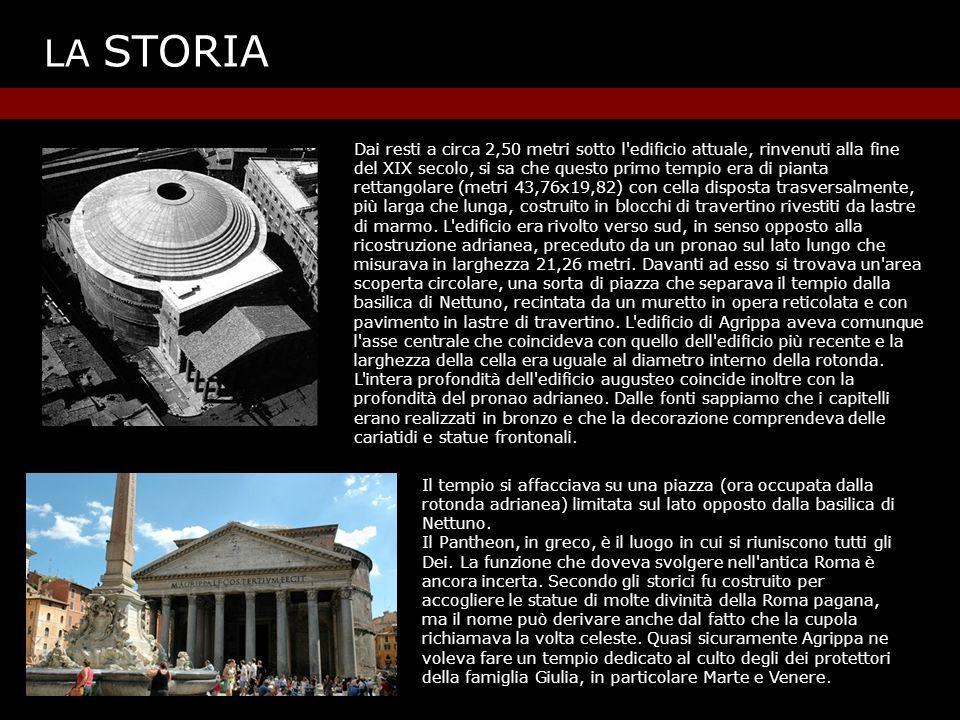 LA STORIA IL PANTHEON ADRIANEO Sotto Adriano l edificio venne interamente ricostruito.
