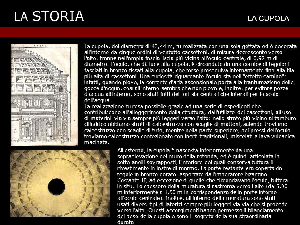 LA STORIA LA CUPOLA La cupola, del diametro di 43,44 m, fu realizzata con una sola gettata ed è decorata all interno da cinque ordini di ventotto cassettoni, di misura decrescente verso l alto, tranne nell ampia fascia liscia più vicina all oculo centrale, di 8,92 m di diametro.