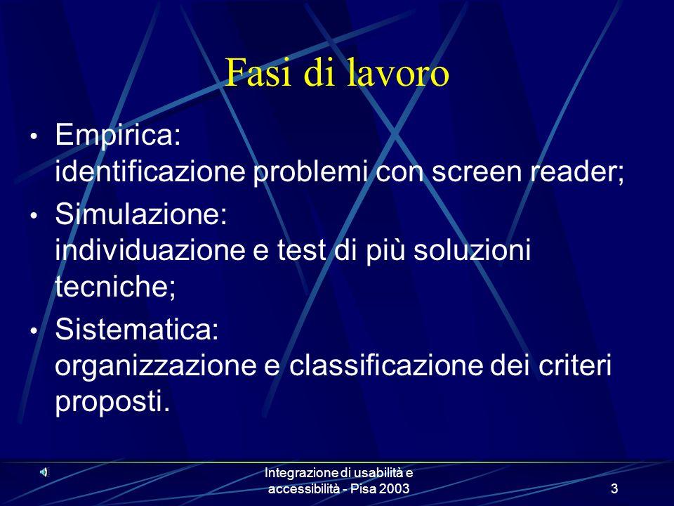 Integrazione di usabilità e accessibilità - Pisa 20033 Fasi di lavoro Empirica: identificazione problemi con screen reader; Simulazione: individuazione e test di più soluzioni tecniche; Sistematica: organizzazione e classificazione dei criteri proposti.