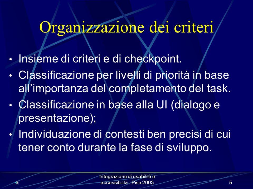 Integrazione di usabilità e accessibilità - Pisa 20035 Organizzazione dei criteri Insieme di criteri e di checkpoint.