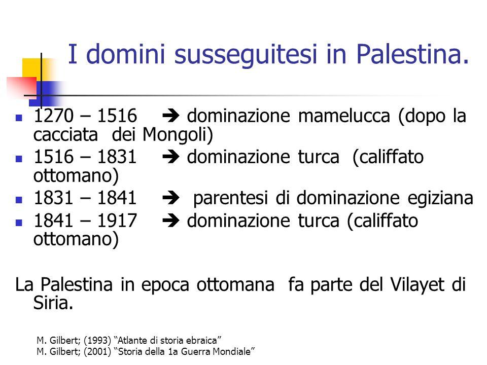 I domini susseguitesi in Palestina. 1270 – 1516 dominazione mamelucca (dopo la cacciata dei Mongoli) 1516 – 1831 dominazione turca (califfato ottomano