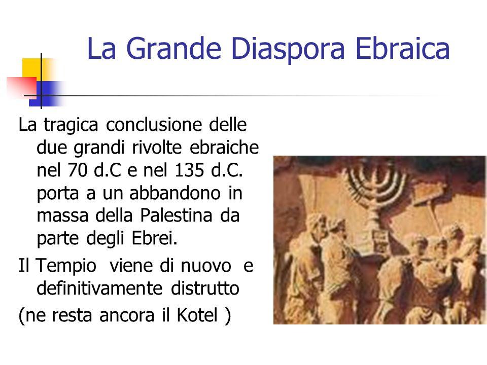 La Grande Diaspora Ebraica La tragica conclusione delle due grandi rivolte ebraiche nel 70 d.C e nel 135 d.C. porta a un abbandono in massa della Pale