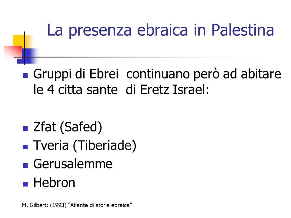 La presenza ebraica in Palestina Gruppi di Ebrei continuano però ad abitare le 4 citta sante di Eretz Israel: Zfat (Safed) Tveria (Tiberiade) Gerusale