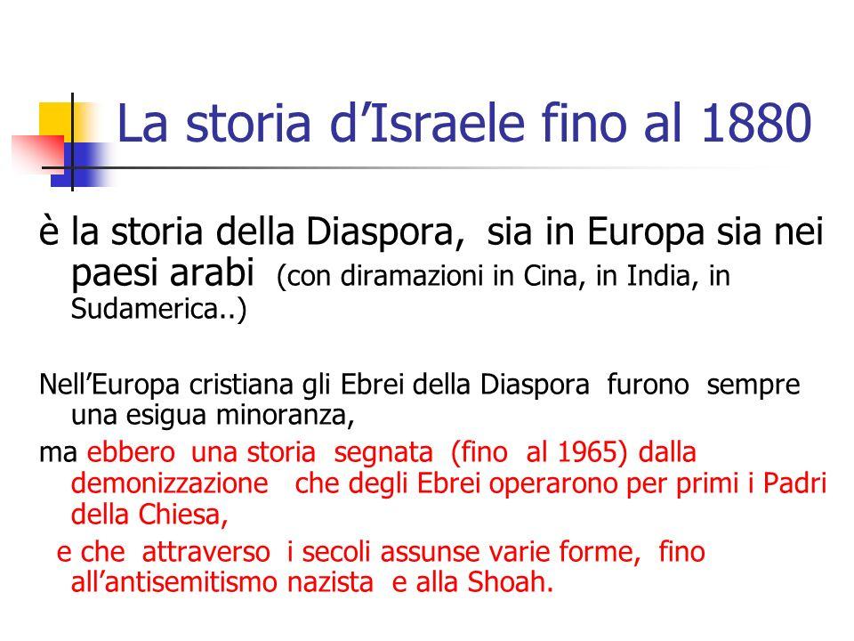 La storia dIsraele fino al 1880 è la storia della Diaspora, sia in Europa sia nei paesi arabi (con diramazioni in Cina, in India, in Sudamerica..) Nel