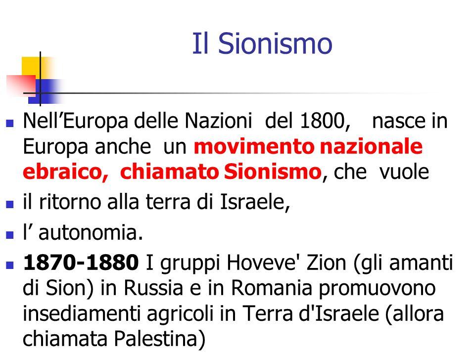 Il Sionismo NellEuropa delle Nazioni del 1800, nasce in Europa anche un movimento nazionale ebraico, chiamato Sionismo, che vuole il ritorno alla terr