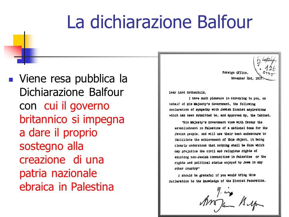 La dichiarazione Balfour Viene resa pubblica la Dichiarazione Balfour con cui il governo britannico si impegna a dare il proprio sostegno alla creazio