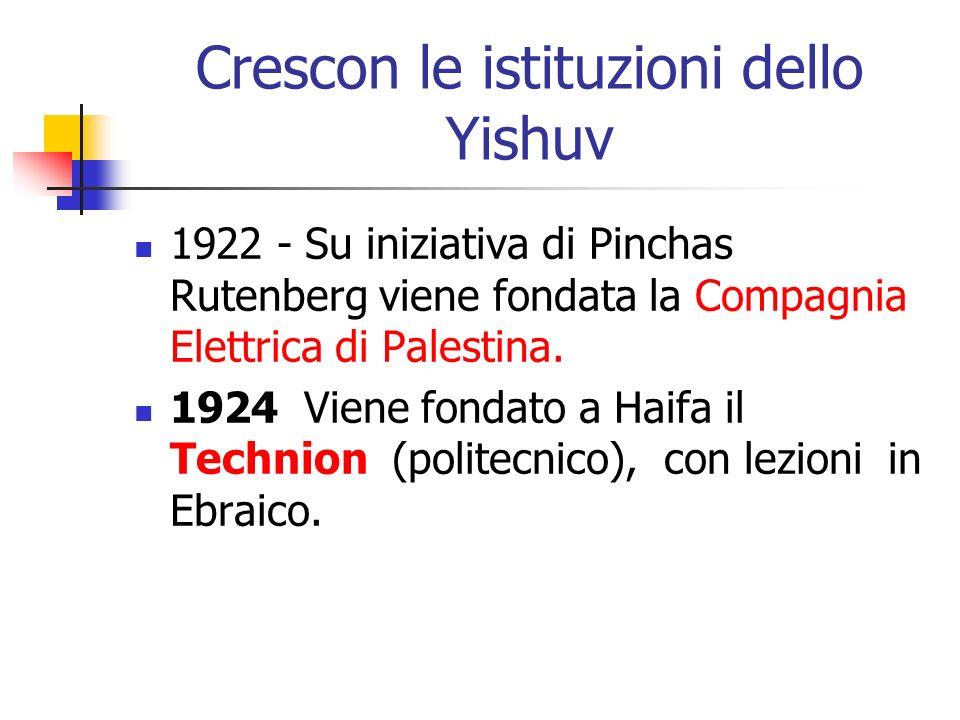 Crescon le istituzioni dello Yishuv 1922 - Su iniziativa di Pinchas Rutenberg viene fondata la Compagnia Elettrica di Palestina. 1924 Viene fondato a