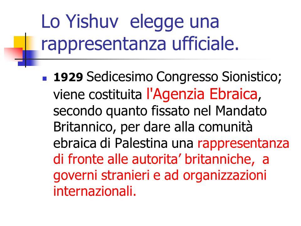 Lo Yishuv elegge una rappresentanza ufficiale. 1929 Sedicesimo Congresso Sionistico; viene costituita l'Agenzia Ebraica, secondo quanto fissato nel Ma