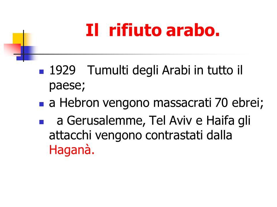 Il rifiuto arabo. 1929 Tumulti degli Arabi in tutto il paese; a Hebron vengono massacrati 70 ebrei; a Gerusalemme, Tel Aviv e Haifa gli attacchi vengo
