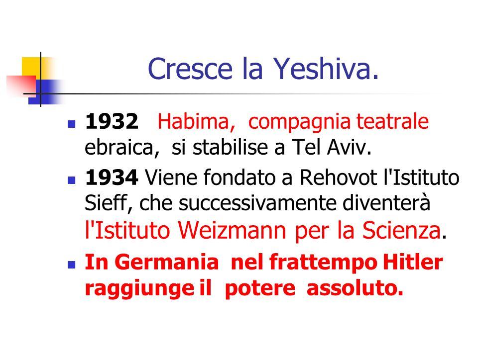 Cresce la Yeshiva. 1932 Habima, compagnia teatrale ebraica, si stabilise a Tel Aviv. 1934 Viene fondato a Rehovot l'Istituto Sieff, che successivament