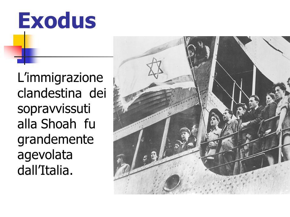 Exodus Limmigrazione clandestina dei sopravvissuti alla Shoah fu grandemente agevolata dallItalia.