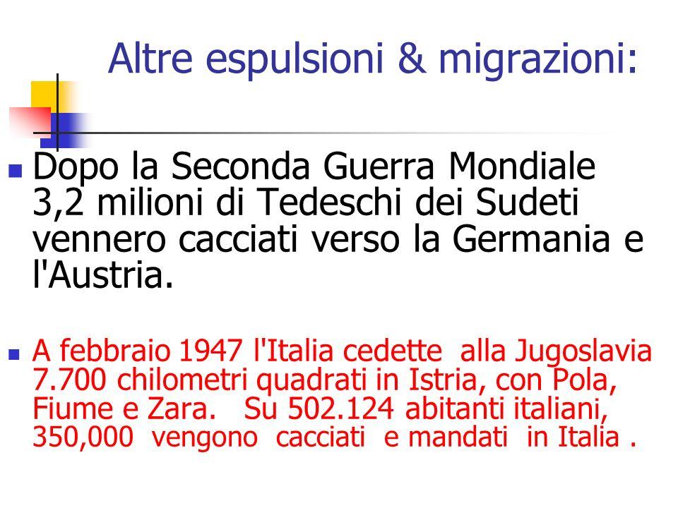 Altre espulsioni & migrazioni: Dopo la Seconda Guerra Mondiale 3,2 milioni di Tedeschi dei Sudeti vennero cacciati verso la Germania e l'Austria. A fe