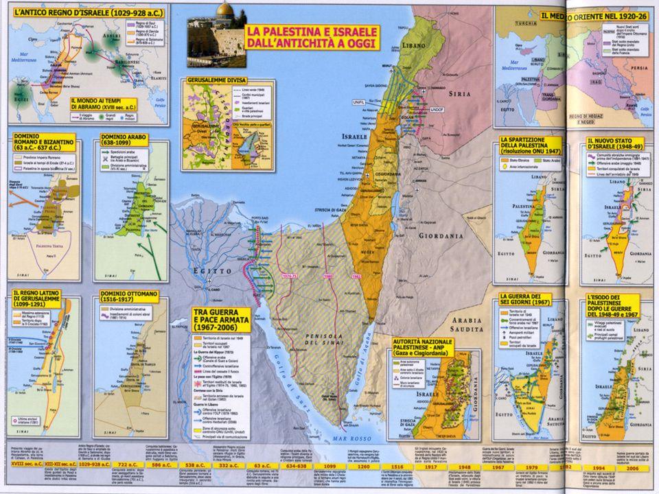 Israele : 21,000 Km2 7,500,000 abitanti (20% arabi); 357 abitanti x Km2 Antorità Palestinese: 9,000 Km2 - 4,180,000 abitanti; 464 abitanti per km2 Lombardia: 23 861 Km2, 9,032,000 abitanti, 378 abitanti per Km2