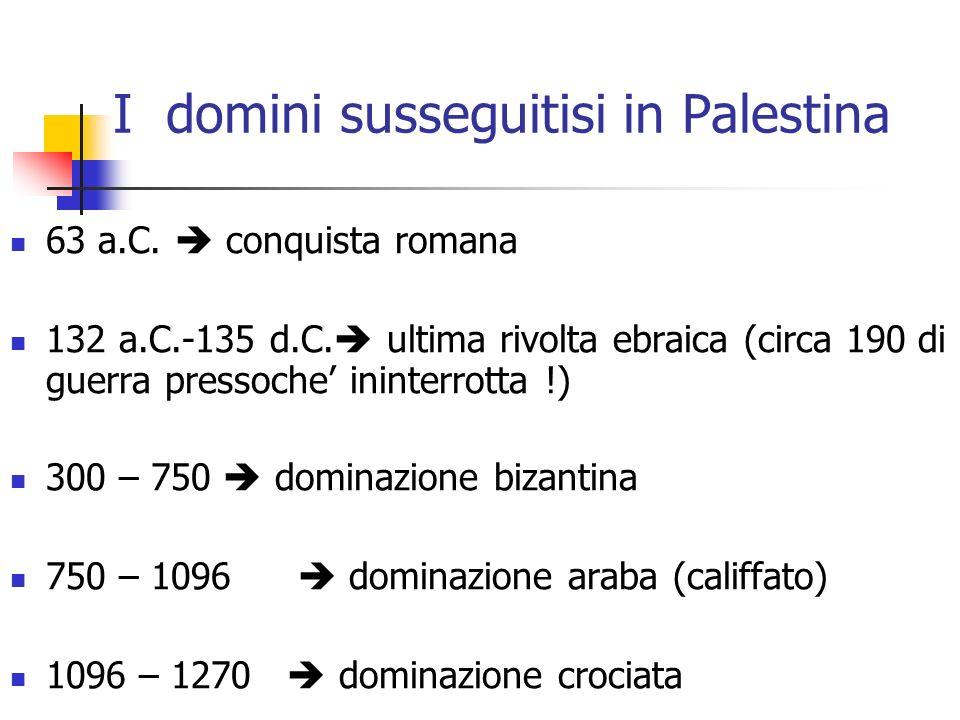 I domini susseguitisi in Palestina 63 a.C. conquista romana 132 a.C.-135 d.C. ultima rivolta ebraica (circa 190 di guerra pressoche ininterrotta !) 30