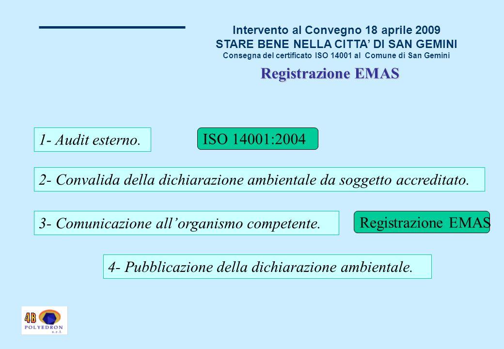 Intervento al Convegno 18 aprile 2009 STARE BENE NELLA CITTA DI SAN GEMINI Consegna del certificato ISO 14001 al Comune di San Gemini Registrazione EMAS 1- Audit esterno.