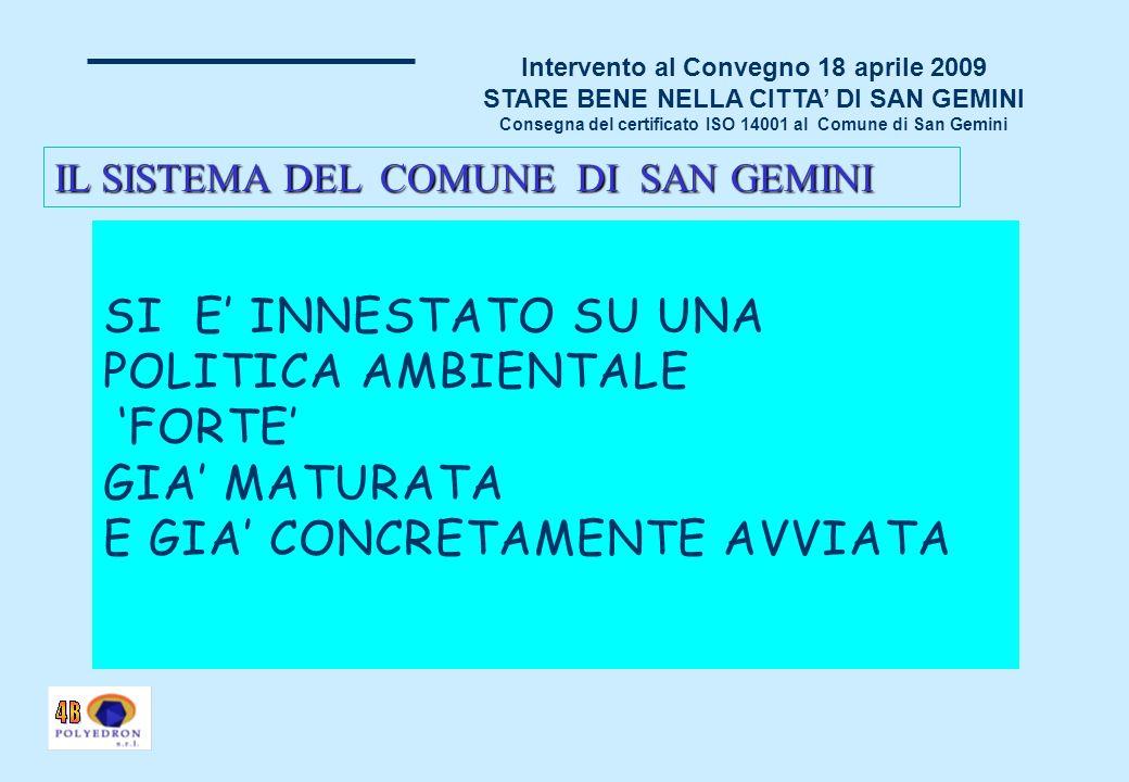 Intervento al Convegno 18 aprile 2009 STARE BENE NELLA CITTA DI SAN GEMINI Consegna del certificato ISO 14001 al Comune di San Gemini SONO STATI RAGGIUNTI I SEGUENTI OBIETTIVI: CREAZIONE DI STRUMENTI PIU EFFICACI PER ATTUARE LA POLITICA AMBIENTALE CREAZIONE DI NUOVI STRUMENTI PER TENERE SOTTO CONTROLLO GLI ASPETTI AMBIENTALI E LE AZIONI DEFINITE E PER MISURARE LEFFICACIA DELLE AZIONI DEFINITE MAPPATURA COMPLETA DI TUTTI GLI ASPETTI AMBIENTALI DEL TERRITORIO