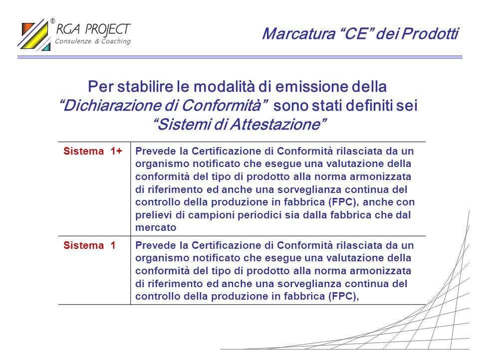 Per stabilire le modalità di emissione della Dichiarazione di Conformità sono stati definiti sei Sistemi di Attestazione Sistema 1+Prevede la Certific