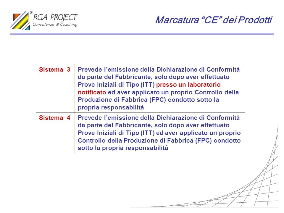 Sistema 3Prevede lemissione della Dichiarazione di Conformità da parte del Fabbricante, solo dopo aver effettuato Prove Iniziali di Tipo (ITT) presso