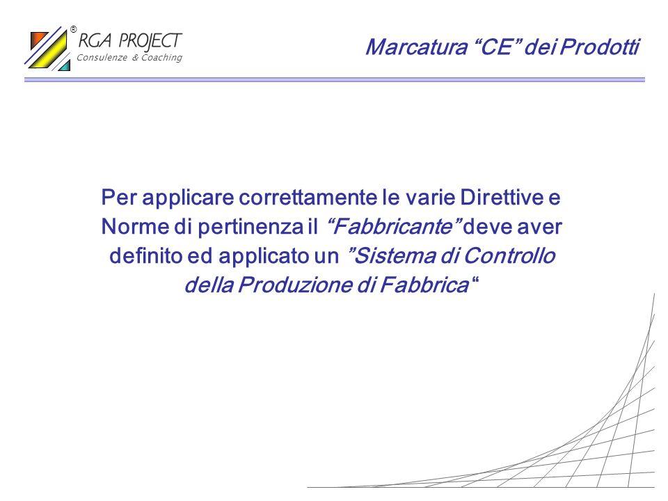 Per applicare correttamente le varie Direttive e Norme di pertinenza il Fabbricante deve aver definito ed applicato un Sistema di Controllo della Prod