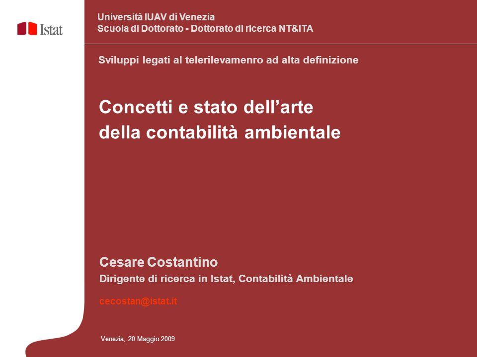 Concetti e stato dellarte della contabilità ambientale Venezia, 20 Maggio 2009 Cesare Costantino Dirigente di ricerca in Istat, Contabilità Ambientale