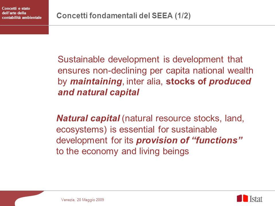 Venezia, 20 Maggio 2009 Concetti fondamentali del SEEA (1/2) Sustainable development is development that ensures non-declining per capita national wea