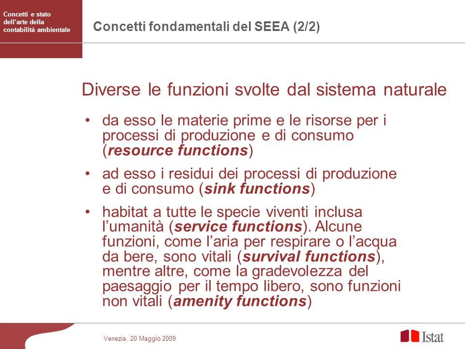 Venezia, 20 Maggio 2009 Concetti fondamentali del SEEA (2/2) da esso le materie prime e le risorse per i processi di produzione e di consumo (resource