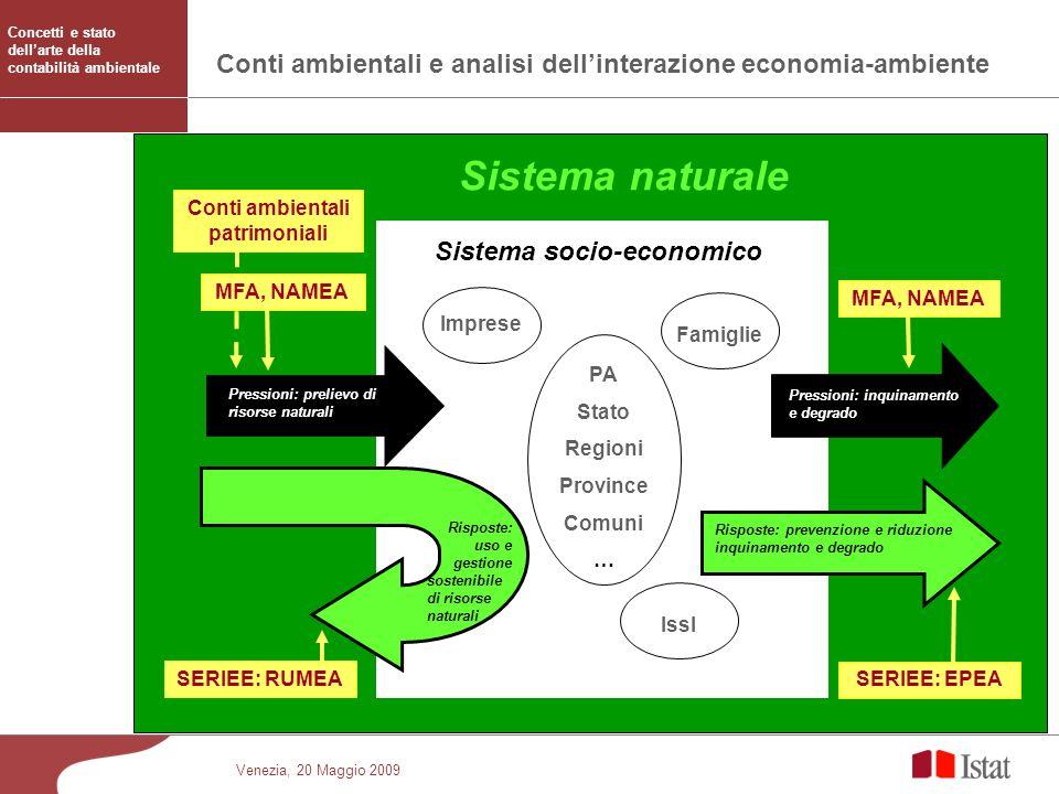 Venezia, 20 Maggio 2009 Conti ambientali e analisi dellinterazione economia-ambiente Sistema socio-economico Sistema naturale Pressioni: prelievo di r
