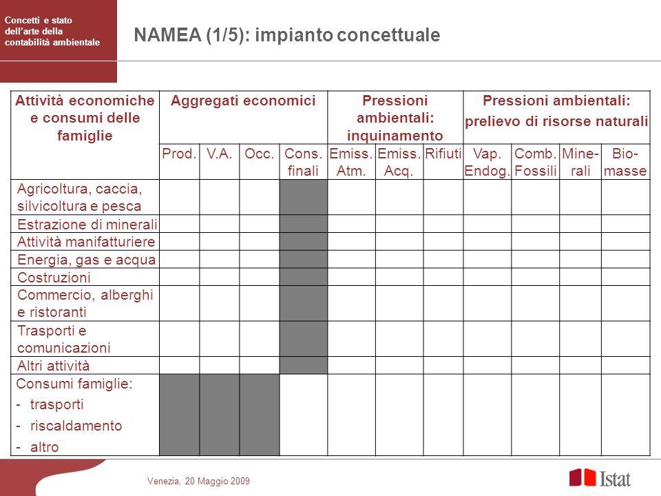 Venezia, 20 Maggio 2009 NAMEA (1/5): impianto concettuale Attività economiche e consumi delle famiglie Aggregati economiciPressioni ambientali: inquin