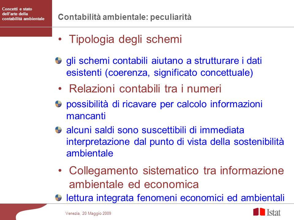 Venezia, 20 Maggio 2009 Contabilità ambientale: peculiarità Tipologia degli schemi Relazioni contabili tra i numeri Collegamento sistematico tra infor