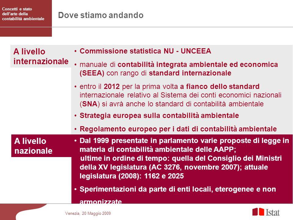 Venezia, 20 Maggio 2009 Dove stiamo andando Commissione statistica NU - UNCEEA manuale di contabilità integrata ambientale ed economica (SEEA) con ran