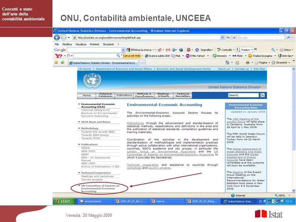 Venezia, 20 Maggio 2009 ONU, Contabilità ambientale, UNCEEA Concetti e stato dellarte della contabilità ambientale