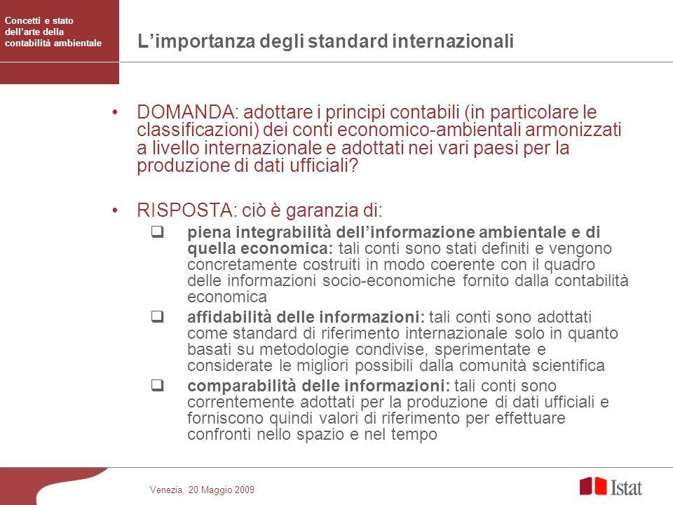 Venezia, 20 Maggio 2009 Limportanza degli standard internazionali DOMANDA: adottare i principi contabili (in particolare le classificazioni) dei conti