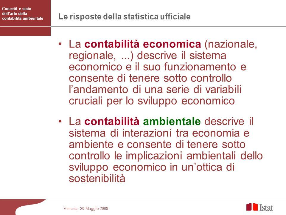 Venezia, 20 Maggio 2009 Le risposte della statistica ufficiale La contabilità economica (nazionale, regionale,...) descrive il sistema economico e il